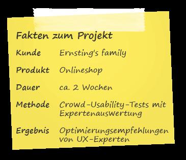 Fakten zum Projekt Experten-Auswertung für Ernsting's family
