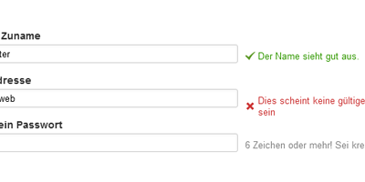 UX von Formularen: Inline Validation