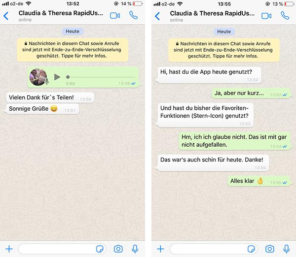 Beispielhafte WhatsApp-Verläufe der Tagebuchstudie