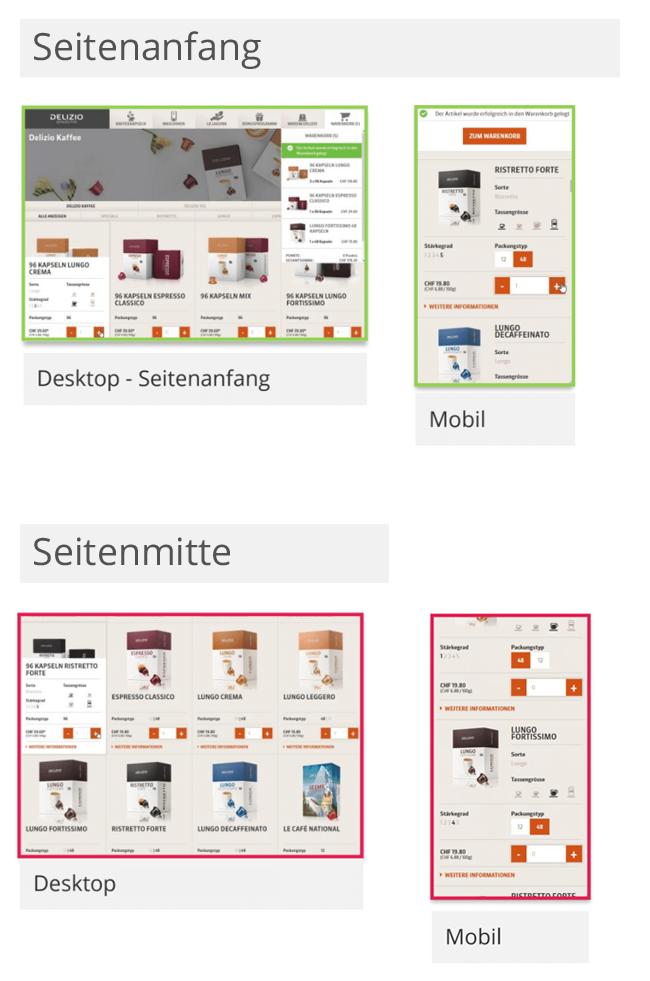 Screenshots aus der App, die in der Tagebuchstudie getestet wurde.